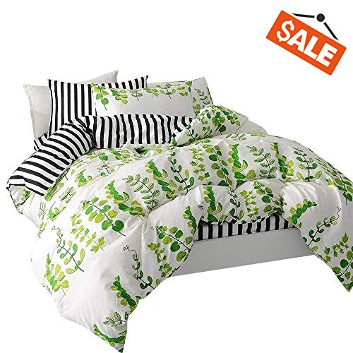 - VClife Cotton Bedding Sets Twin Children Garden Leaves Printed Duvet Cover Sets Reversible Boy Girl White Black Stripe Geometric Bedding Collections with Zipper Closure & Corner Ties Kid Bed Sets