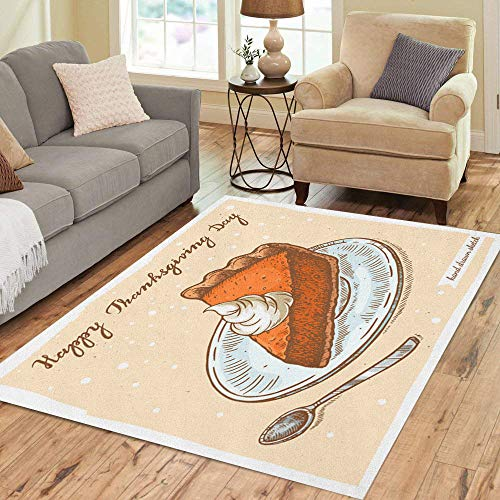 - Pinbeam Area Rug Color Linear of The Slice Pumpkin Pie Plate Home Decor Floor Rug 5' x 7' Carpet