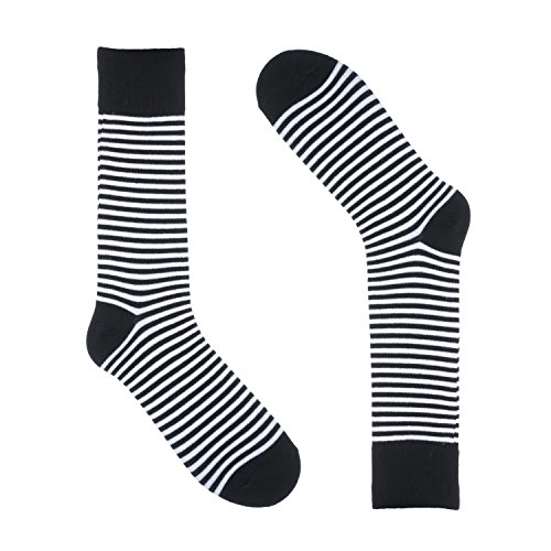 Ivory + Mason Striped Socks for Men - Dress Sock - Colorful - Thin Black and White Color - Cotton - Size 8-13 (One -