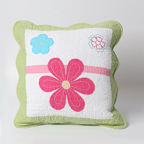 Cozy Line Home Fashions Throw Pillow 16'' x 16'', Pink Flower Embroidered Print Pattern Stuffed Decorative Pillow, 100% COTTON, Gifts for Kids, Girls (Green Flower, Decor Pillow -1pc) by Cozy Line Home Fashions