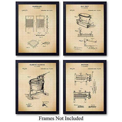 Laundry Room Patent Wall Art Prints - Set of Four (8x10) Vintage Unframed Photos - Stylish Home Decor. Makes a Perfect Easy Gift - Set of 4