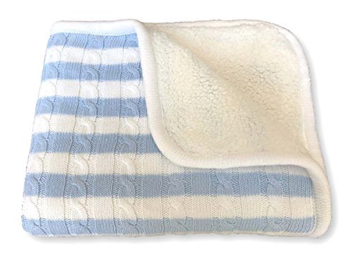 effe bebe Sweet Stripe Cotton Cable Knit Sherpa Baby Blanket 30