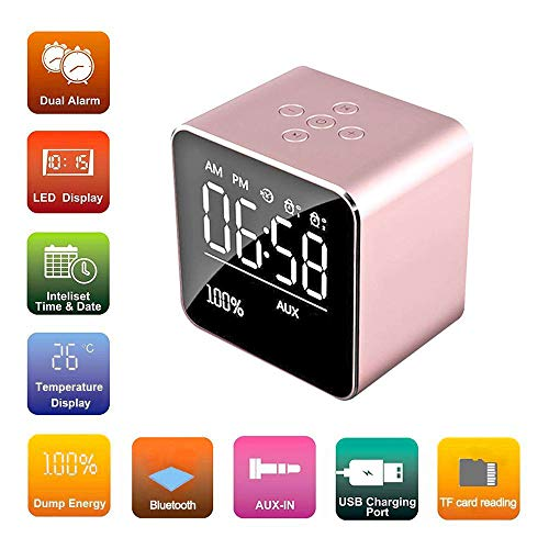 Bluetooth Speaker Alarm Clock,TechCode Portable Bluetooth Speaker LCD Display Digital Mirror Alarm Clock with Snooze Function Stereo Speaker Enhanced Bass Audio Music Player Support TF Card,Rose Gold (Display Speakerphone)