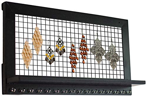 (SoCal Buttercup Espresso Jewelry Organizer from Wooden Wall Mounted Holder for Earrings/Necklaces/Bracelets/Accessories (Espresso))