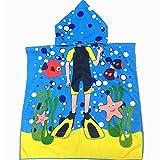 Kids Bath Towel, Doinshop Hooded Towel Bath Wrap Beach Poncho With Hood Robe (Blue)