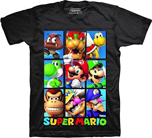 Video Game Cartoon T-shirt - Nintendo Boys' Super Mario Characters Short Sleeve Crewneck T-Shirt Black 14