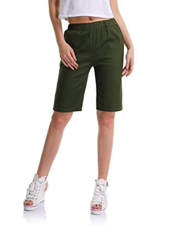 1948ce3e0a Women's Elastic Waist Casual Knee Length Bermuda Shorts Army Green Tag ...