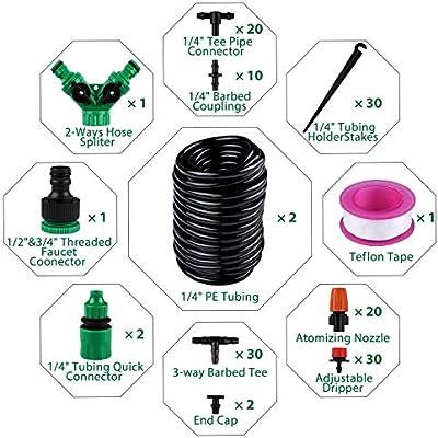 Sistema de riego de jardín, Emooqi 149 Pcs Goteros para Equipos de Riego Automático, Accesorios para Riego por Goteo Sistema de Riego DIY para Irrigación Riego para Jardín, Plantas de Patio -