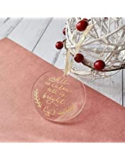 """UNIQOOO 20 Count Blank Round Clear Acrylic Christmas Ornament Tag, Family Name Xmas Tree Hanging Decorations, Wedding Table Numbers, Place Cards and DIY Ornaments - 2 3/4"""""""