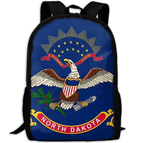 CY-STORE North Dakota Flag Outdoor Shoulders Bag Fabric Backpack Multipurpose Daypacks For Adult