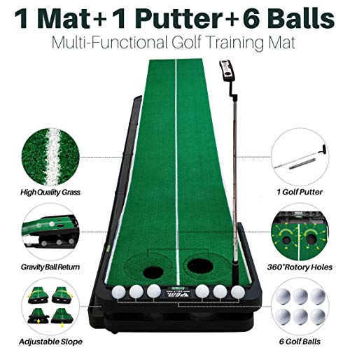 YBPGM 360° Rotory Golf Putting Auto Return System Professional Practice Green Long Challenging Putter Indoor/Outdoor Golf Training Mat Aid Equipment by YBPGM (Image #1)