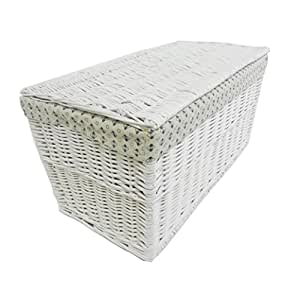 Shabby chic blanco gris caja de almacenamiento de mimbre - Baul mimbre blanco ...