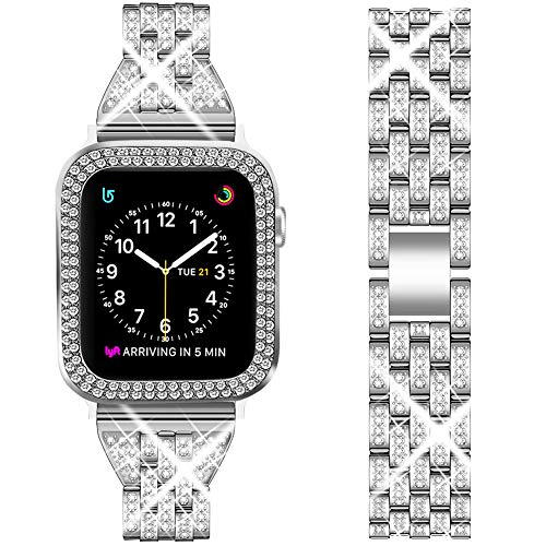DSYTOM Compatible Apple Watch Band 38mm 40mm 42mm 44mm with Case Women,Slim Rhinestone Metal Jewelry Wristband Strap with Bling PC Protective Case Replacement for iWatch Series 5 4 3 2 1
