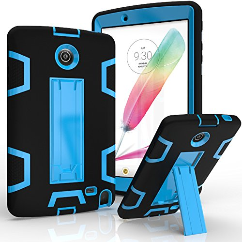 LG G Pad II 8.0 Case/G Pad F 8.0 Case,Kuteck Hybrid Protective Heavy Duty Rugged Shockproof Drop Resistance Anti-slip With Kick Stand Cover for LG G Pad 2 8.0 (V498), G Pad F 8.0 (Black/Blue) by KUTECK