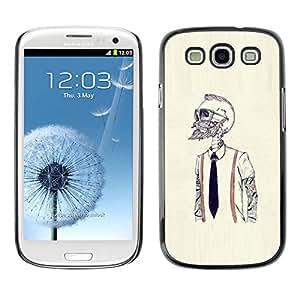 Caucho caso de Shell duro de la cubierta de accesorios de protección BY RAYDREAMMM - Samsung Galaxy S3 - Hipster Bearded Esqueleto