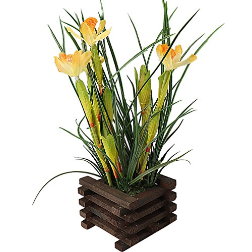 Artificial Pot Yellow (RERXN Artificial Orchid with Wooden Fence Pot Real Touch Flower Arrangement Home Office Windowsill Decor (Yellow))