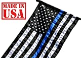 US Flag Factory 2.5'x4′ Thin Blue Line American Flag (Pole Sleeve) (Embroidered Stars, Sewn Stripes) for Police Officers, Blue Lives Matter Flag – Outdoor SolarMax Nylon – Made in America