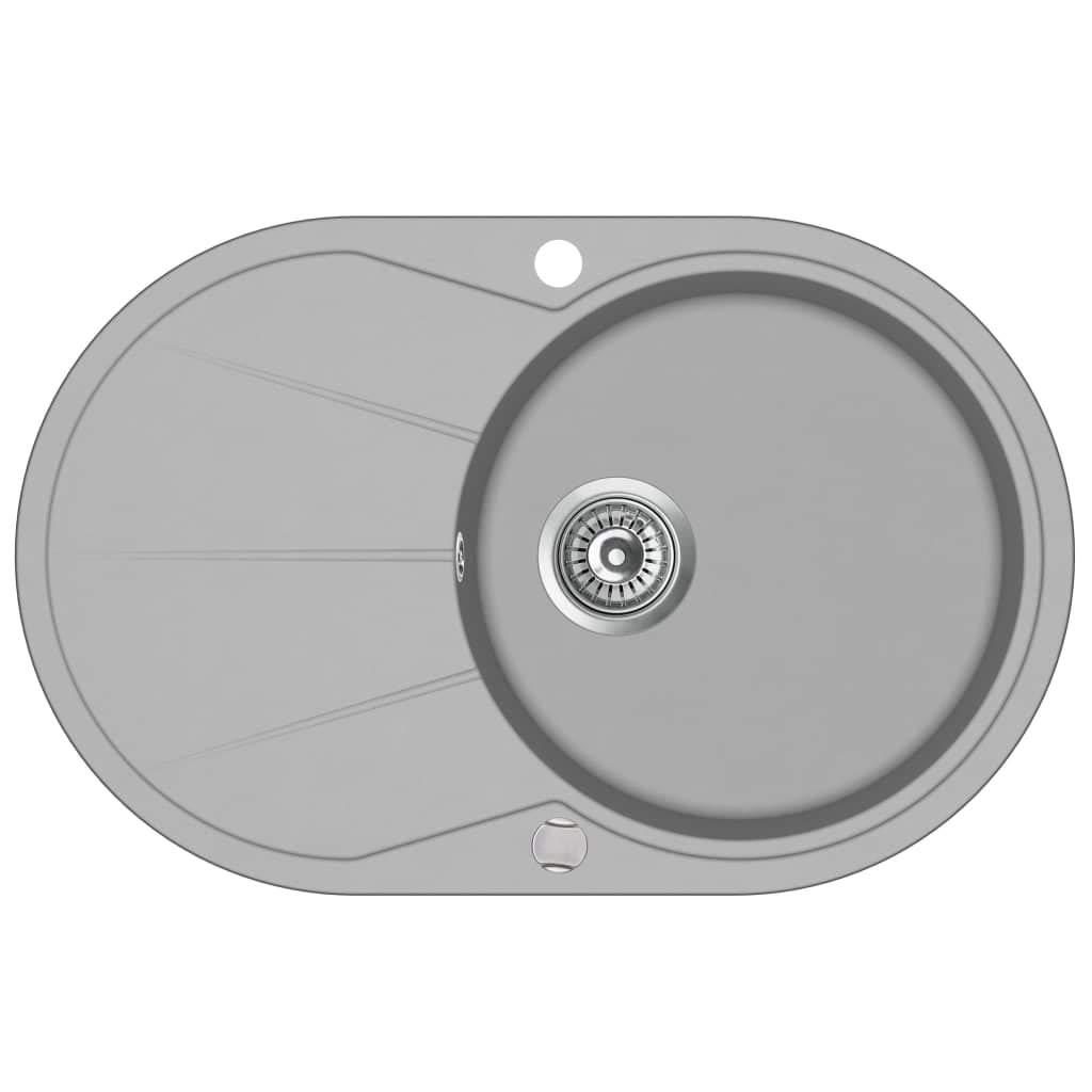 vidaXL /Évier de Cuisine en Granit Bac Unique Ovale Gris D/écor Cuisine Maison
