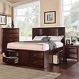 1PerfectChoice Elegant Bedroom Queen Platform Bed w/ 6 Underbed Drawers 14 Slats in Espresso