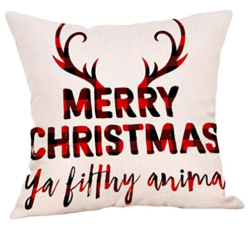 Red plaid Christmas pillow: Merry Christmas ya filthy animal. #holidaydecor #plaid #antlers #whimsical #humor