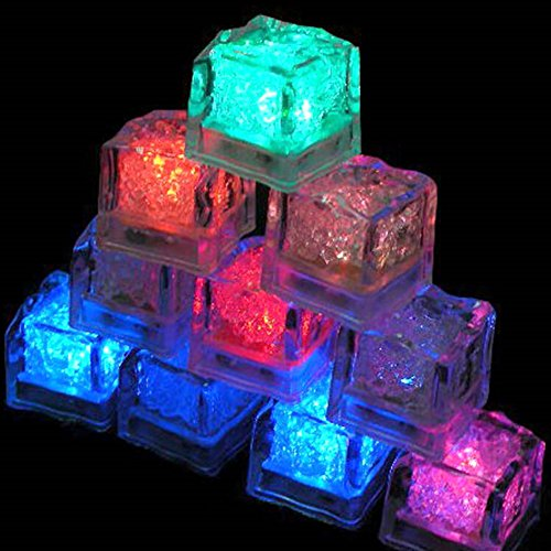 LED Ice Cubes Light, Colorful Flash Party Ice Light Include Water Submersible LED Liquid Sensor for Halloween Party Wedding Bar DJ Club Champagne Tower Decoration (12 Pack, (Halloween Drinks Made With Dry Ice)