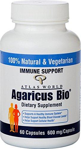 Atlas World Agaricus Bio Immune Support Supplement, USDA Certified Organic Agaricus Blazei Murill Mushroom Powder, Non-GMO, Gluten Free, 600 mg, 60 vegetable capsules