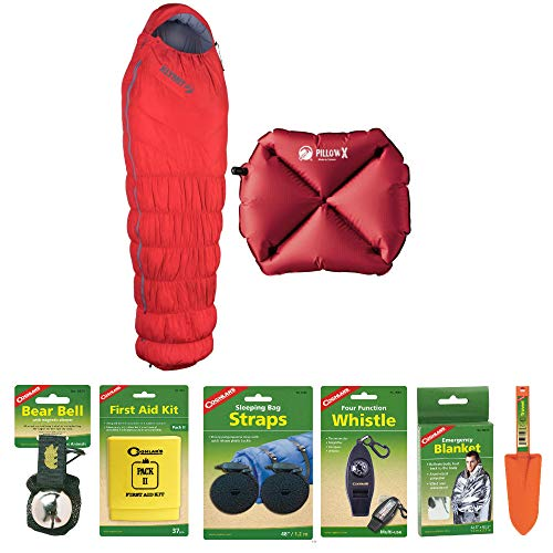 Klymit 20 Down Insulated Sleeping Bag (Red) with Inflatable Pillow X (Red) and Camping Essentials Kit | Emergency Blanket, Bear Bell, Whistle, First Aid Kit, and More Included in Bundle