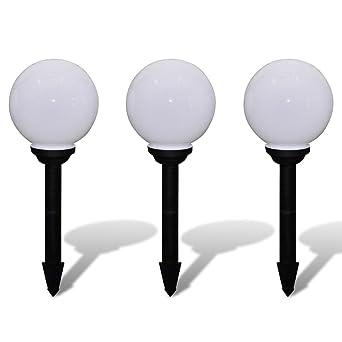 Xinglieu - Farolillo solar LED para jardín, 20 cm, 3 unidades, con estaca, diseño único, robusto y resistente, farolillos de jardín: Amazon.es: Iluminación