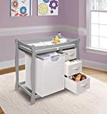 Badger Basket Sleigh Style Changing Table with Hamper and Baskets, Gray