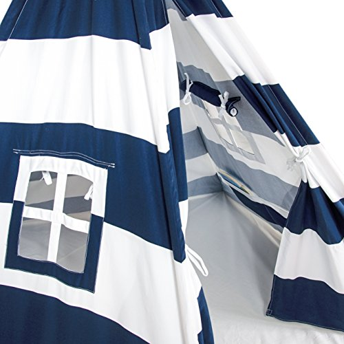 A Mustard Seed Toys Large Kids Teepee Tent, Big Enough for The Whole Family, 100% Natural Cotton Canvas Tent with Carrying Case, No Extra Chemicals (Navy) by A Mustard Seed Toys (Image #4)
