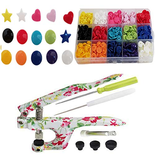 KAMsnaps Starter Case: Heart / Star / Round KAM Snaps Press Pliers for Plastic Snaps No-Sew Buttons Fasteners Setter Hand Tool for Clothes, Cloth Diapers, Bibs (Floral Organizer) by KAMsnaps