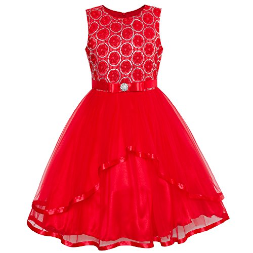 LW47 Flower Girl Dress Red Sequin Mesh Red Holiday Dress Size 12 -