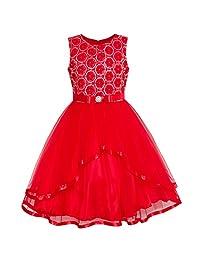 Sunny Fashion Flower Girls Dress Blue Belted Wedding Party Bridesmaid Size 4-12