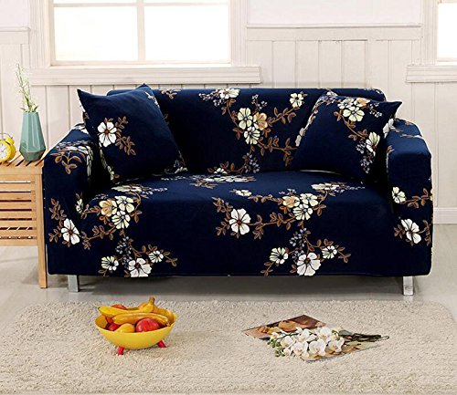 YJBear 1 PC Form Fit Vintage Dark Blue Sofa Covers Polyester Spandex Stretch Slipcover Slip Resistant Furniture Protector for Chair Loveseat Sofa Protector Shield,White Flower,57.09''-72.83''(Loveseat) by YJBear