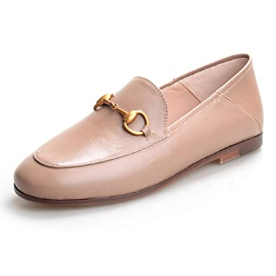 cbdf89ec9d20 GEEDIAR Women's Flat Loafer Loafer Slip On Loafer Embroidery Mule Slippers  Leather and Suede Loafers Apricot