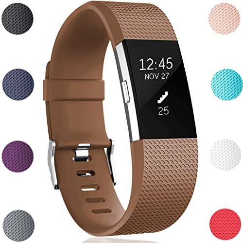 GEAK For Fitbit Charge 2 Bands, Replacement Sport Accessory Bands for Fitbit Charge 2 Small Coffee