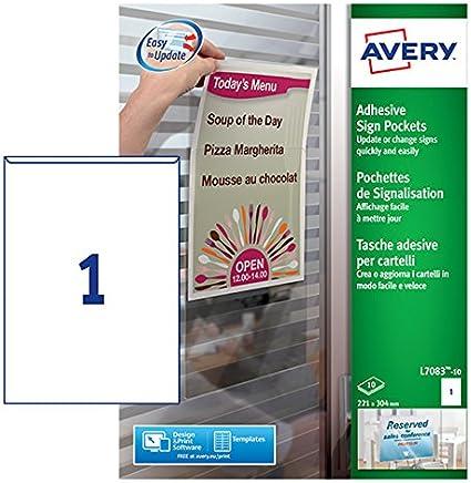 Avery España L7083 -10 Bolsillos adhesivos de plástico, 221 x 304 ...