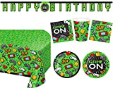Video Game Party Supplies Tableware Decorations Set - Set of 16 - Plates, Napkins, Cups, Banner, Table Cover Kit