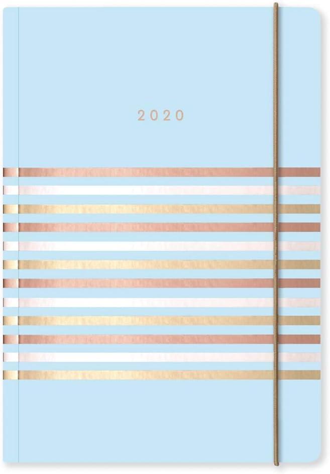 formato A5 A5 Blue con triple strisce in carta argentata personalizzabile Matilda Myres 2020 Agenda settimanale a righe