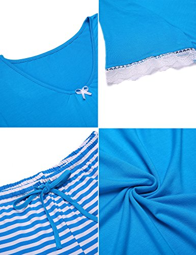 UNibelle Donna Pigiama Due Pezzi Pigiami Estivi con Tasche Collo a U Vestaglia Ragazza Manicha Corta con Pantalocini S-XXL
