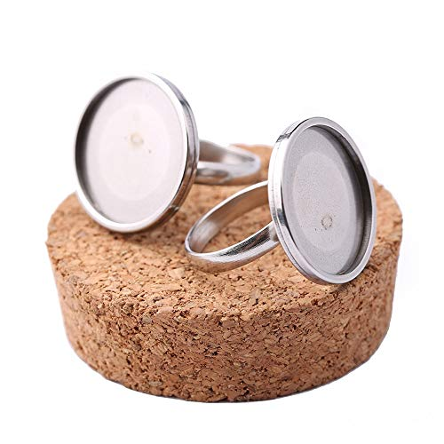 SHUNAE 10pcs Stainless Steel Adjustable Ring Base 20mm Dia cabochon Settings DIY Bezel Blanks for Jewelry Rings Making ()