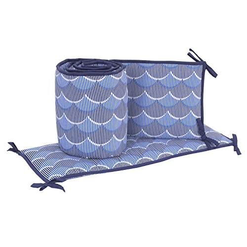 Nautica Kids Set Sail Nautical/Waves 4 Piece Nursery Crib Bumper, Blue, Navy