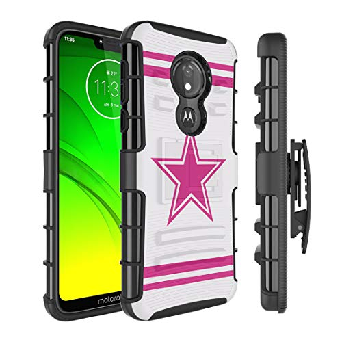 Moriko Case Compatible with Moto G7 Power, Moto G7 Supra [Kickstand Holster Combo Heavy Duty Protection Case Black] for Motorola Moto G7 Power - (Pink - Cowboys Power Decal