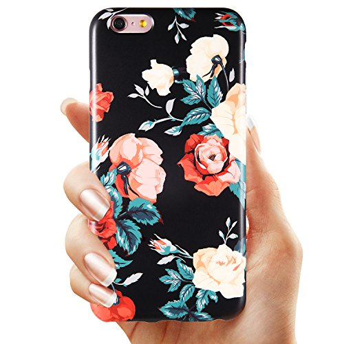KINFUTON iPhone 6 6s Plus Case Floral Roses on Black Case for Women/Girls, Clear Bumper Soft Silicon Rubber Matte TPU Protective Phone Case Cover for iPhone 6 6s Plus [5.5]