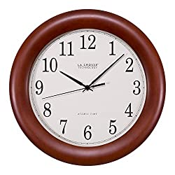 La Crosse Technology WT-3122A 12.5 Inch Cherry Wood Atomic Analog Clock, 12.5, Walnut