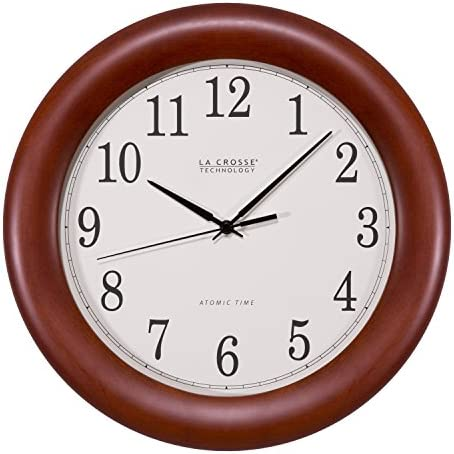 La Crosse Technology WT-3122A 12.5 Inch Wood Atomic Analog Clock, 12.5 , Cherry Walnut