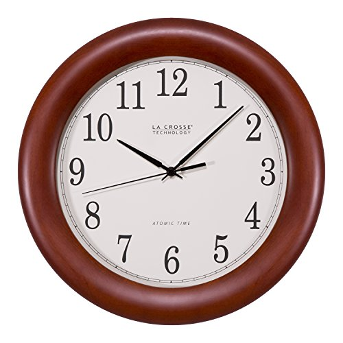 La Crosse Technology WT-3122A 12.5 Inch Cherry Wood Atomic Analog Clock, 12.5