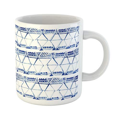 Semtomn Funny Coffee Mug Blue Watercolor Ikat Ethnic Indigo Batik Ornamental Pattern Oriental 11 Oz Ceramic Coffee Mugs Tea Cup Best Gift Or ()