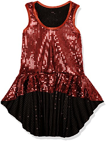 Dance Performance Costumes For Kids (Gia-Mia Dance Big Girls' Sequin Peplum Tank Dance Jazz Costume Performance Team, Red, S)
