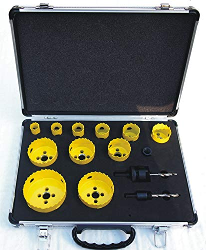 BoreTech 14 Piece M42 High Speed Steel (HSS) All Purpose Professional/DIY-Pro Hole Saw Kit with Aluminum Case